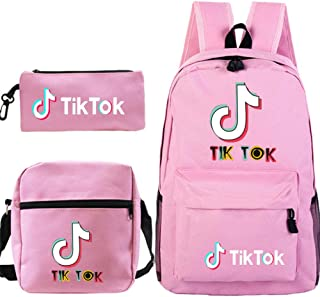 xxLvOG TIK Tok Mochila para Estudiantes TIK Tok + Bolso Pequeño + Bolígrafo Conjunto De Tres Piezas: Rosa_L (44 Cm) L (26 Cm) H (14 Cm) _1
