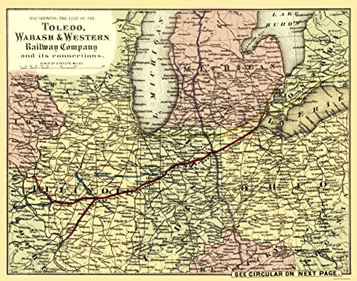 MAPS OF THE PAST Toledo Wabash and Western Railway 1 - Colton 1873-23.00 x 29.19 - Glossy Satin Paper