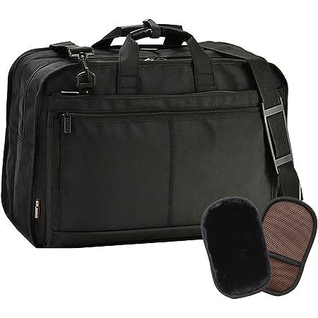 平野鞄 ビジネスバッグ ブリーフケース ビジネストラベルバッグ A3 メンズ 軽量 2室 ビジネス 大容量 出張 通勤 黒 ブラック 横幅52cm +オリジナル高級ムートングローブ