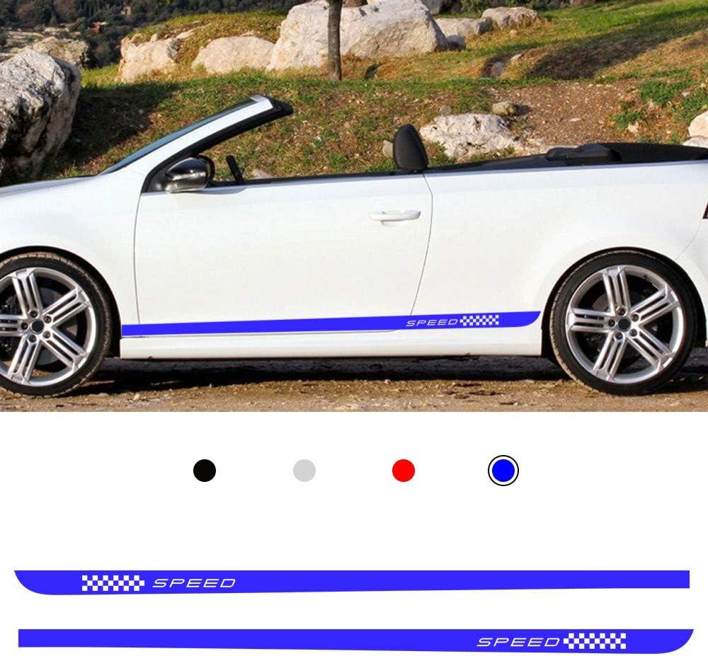 Cobear Auto Seitenstreifen Seitenaufkleber Aufkleber Für V Olkswagen Golf 7 Mk7 Rennstreifen Racing Decals Viperstreifen Blau 2 Stück Auto