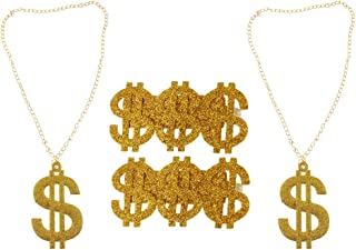HOMYL 4pcs Shining Gold US Dollar Signs Ring Necklace 80s Rapper Gangster Hip Hop Cuban Chain Bling Jewelry Men Accessories