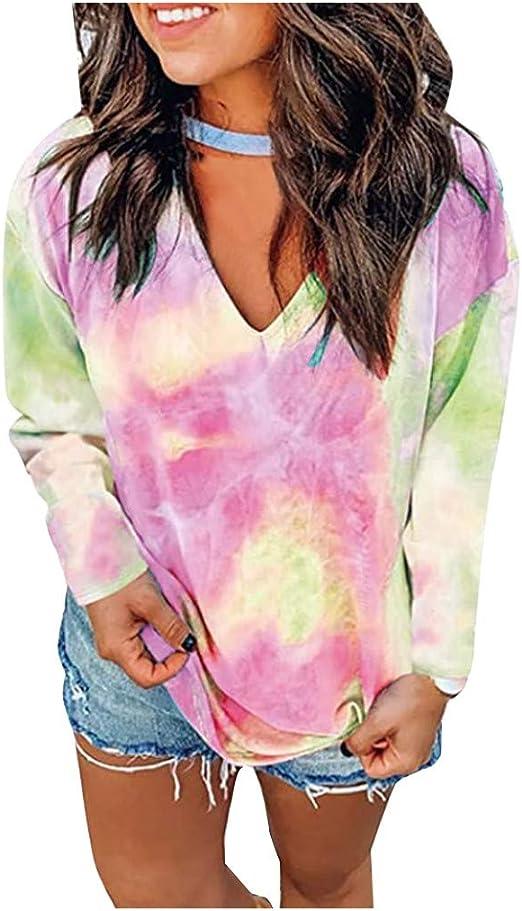 Asvivid Womens Tie Dye Printed Pullover Hoodie Crop Tops Oversized Drawstring Sweatshirt Blouses with Pockets