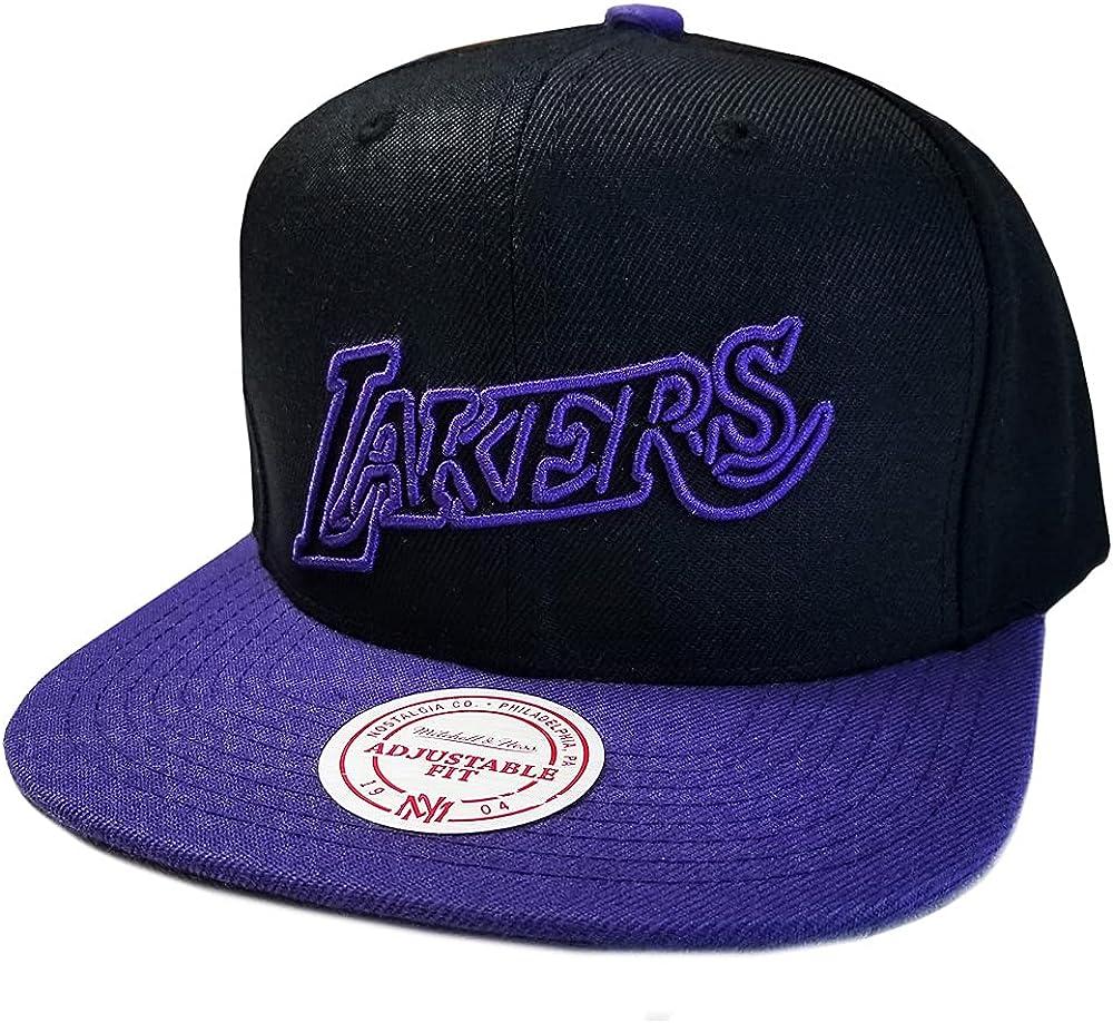 Mitchell & Ness LA Los Angeles Lakers HWC Hardwood Classics Team Color Neon Snapback Hat, Adjustable Black Blue Cap