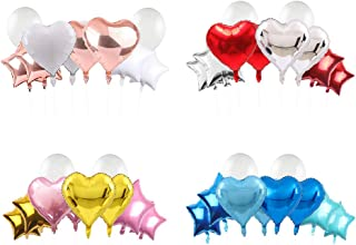 18 Inch Aluminum Foil Balloons with Heart and Pentagonal Shaped, Latex Balloons for Birthday Wedding Engagement Anniversar...