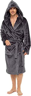 Mens Dressing Gown Super Soft Mens Fleece Robe with Hood Gowns Bathrobe Warm and Cozy