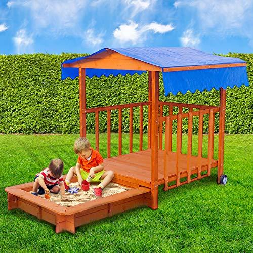 BRAST Sandkasten verstellbares Dach Sandkiste Spielhaus Sitzbänke Holz Pavillon