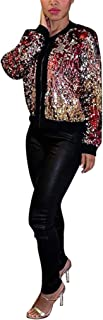 Women's Autumn Cover Up Long Sleeve Sequins Metallic Open Front Cardigan Coat