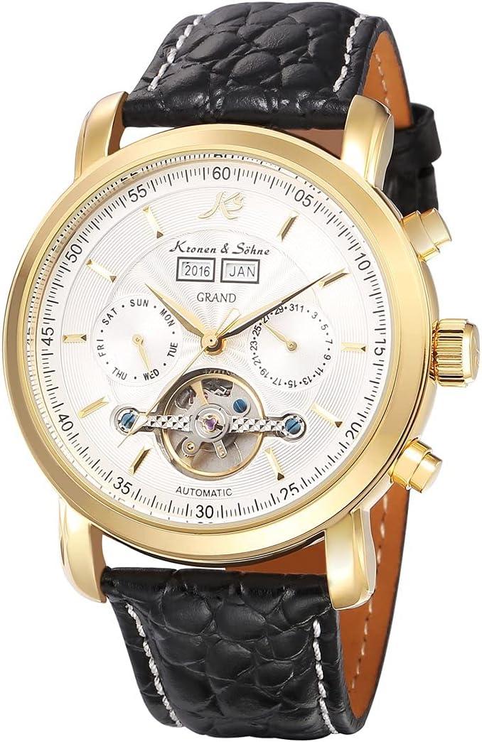 bansd Reloj mecánico clásico Tourbillon Esqueleto automático para Hombres, Relojes de Pulsera mecánicos con cinturón de Cuero con Calendario