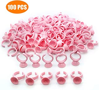 100PCS Pink Disposable Plastic Nail Art Tattoo Glue Rings Holder Eyelash Extension Rings Adhesive Pigment Holders Finger Hand Beauty Tools