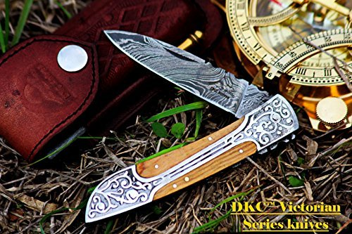 DKC Knives (21 5/18) Sale DKC-37-OW Victorian Damascus Folding Pocket Knife Olive Wood 7.75 Long, 4.5 Folded 3 Blade 4.8oz Hand Made Incredible Look and Feel