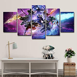 IGHFVJFG 5 Panels Modern Artwork Canvas Prints Abstract Pictures Devil May Cry 5 Action Adventure Game -Size1Framed