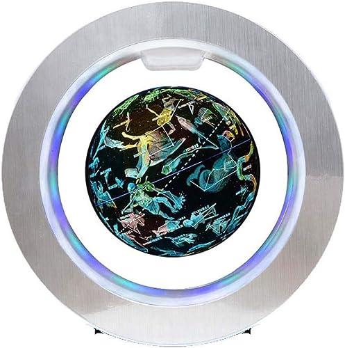 HUYYB Schwebender Globus mit LED-Licht, 6-Zoll-Globus-Weltkarte 360  otierende O-Form-Home-Office-Schreibtisch-Dekoration,Constellation