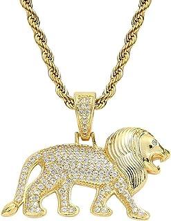 Hiphop Necklace, قلادة الأسد مطعمة مع الزركون الذهب 18 كيلو الذكور الهيب هوب قلادة الرجال S الهيب هوب المجوهرات