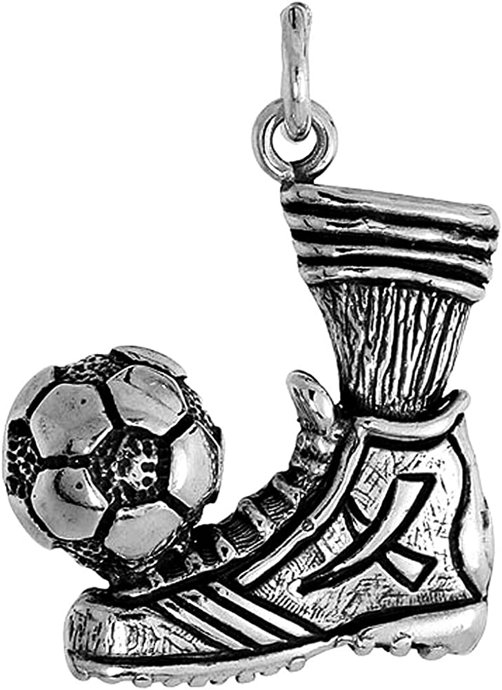 Sterling Silver Soccer Ball /& Cleats with Socks Necklace Women Oxidized Finish 7//8 inch 1mm Box/_Chain