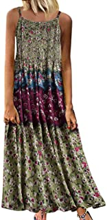 Haalife◕‿Womens Summer Floral Spaghetti Strap Dress Tropical Print Adjustable Strappy Dress