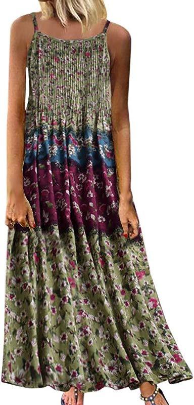 Women S Plus Size Cotton Linen Casual Sleeveless Dresses AmyDong Retro Patchwork Printed Loose Boho Maxi Dress
