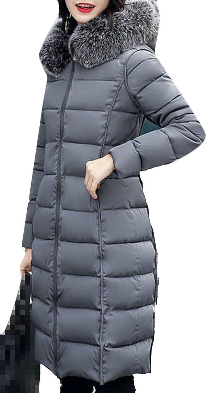 Pandapang Womens Reversible Parkas Coat Faux Fur Hooded Print Zip Down Jacket