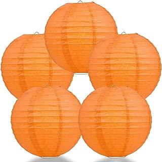 PaperLanternStore.com (5-Pack) 16 Inch Persimmon Orange Round Paper Lantern, Even Ribbing, Hanging Decoration