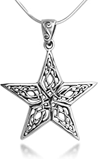 Sterling Silver 25 mm Open Celtic Knot Filigree Large Star Pendant Necklace 18'' Snake Chain