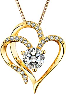 Heart Necklace 14K Gold Plated 5A Cubic Zirconia Pendant Necklaces for women