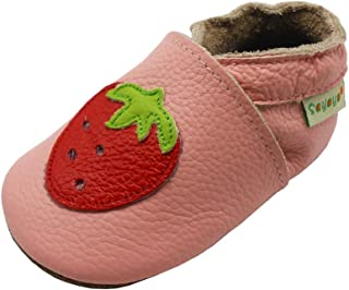 Sayoyo Baby Strawberry Soft Sole Leather Infant Toddler Prewalker Shoes
