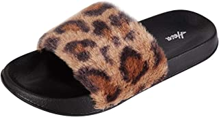 FUNKYMONKEY Women's Slides Faux Fur Cute Fuzzy Slippers Comfort Flat Sandals