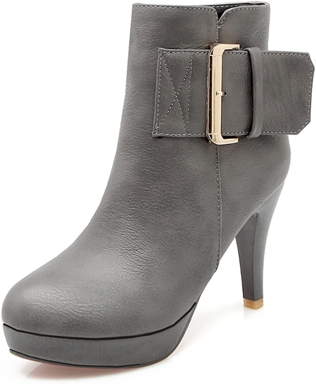 Lucksender Womens High Heel Platform Dress Ankle Boots