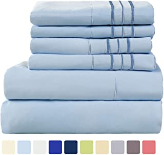 WARM HARBOR Microfiber Sheet Set Super Soft 1800 Thread Count Deep Pocket Bed Sheets Wrinkle, Fade, Stain Resistant -6 Piece(Lake Blue, Queen)