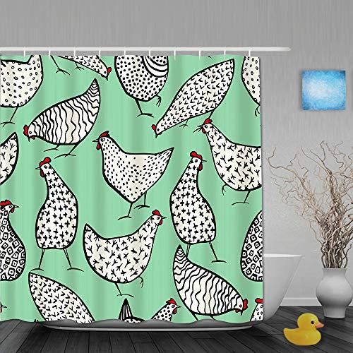 MANISENG Duschvorhang,Hand gezeichnete Hühner Hintergr&,personalisierte Deko Badezimmer Vorhang,mit Haken,180 * 210