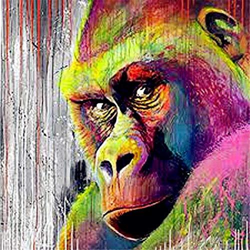 Pintar por Numeros DIY Cuadro al óleo con números Acuarela Animal Gorila Enojado para Kit de Pintura al óleo Digital para Adultos y niños de Lienzo decoración para el hogar 40x50cm Sin Marco