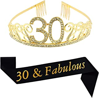 30th Brithday Gold Tiara and Sash, Glitter Satin 30 & Fabulous Sash and Crystal Rhinestone Birthday Crown for Happy 30th Birthday Party Supplies Favors Decorations 30th Birthday Cake Topper