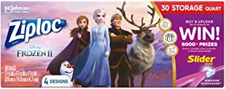 Ziploc Brand Storage Slider Quart Bags, Disney's Frozen 2, 30 Ct
