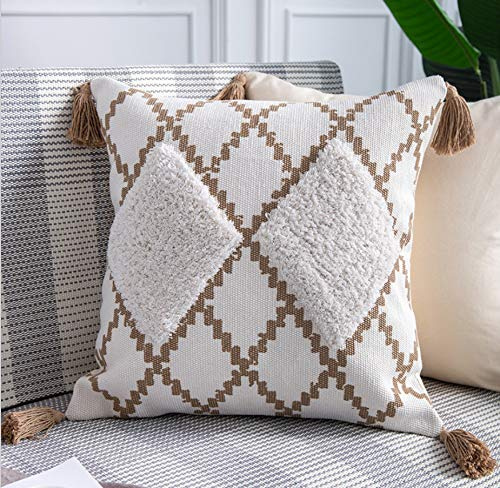 DUIPENGFEI All-match style cotton thread woven printing tufted cotton super soft car sofa cushion throw pillow cushion cover, khaki, 45 * 45cm