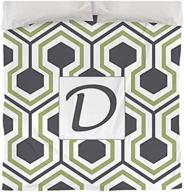 Manual Woodworkers & Weavers Duvet Cover, Queen/Full, Monogrammed Letter D, Grey Honeycomb