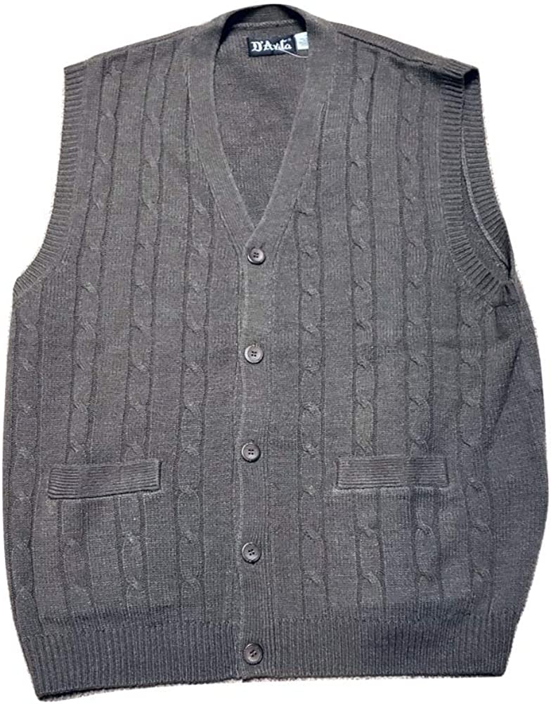 D'Avila 100% Acrylic Big and Tall Sleeveless Cable Knit Cardigan Vests (1X, Brown Heather)