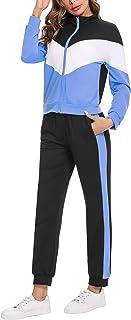 Irevial Survêtement Femme Velour Tenue de Sport Femme 2 Pièces Sweatshirt à Zippé avec 2 Poches + Pantalon de Jogging Femm...