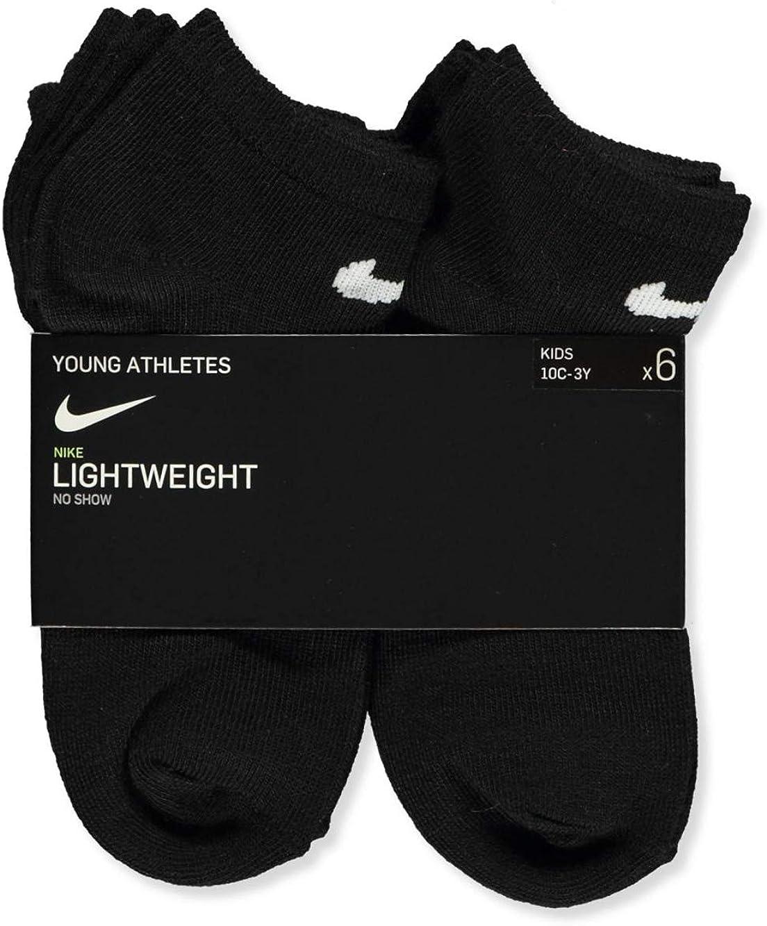 Nike Kids Young Athletes No Show Socks Black 6 Pairs Size