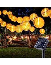 Zonne-lantaarn lichtslingers buiten, BrizLabs 20ft 30 LED Solar Powered Tuinverlichting 8 modi Waterdicht Solar Fairy Light Buiten voor zomer Patio gazon Yard Fence Party Decoraties, Warm Wit