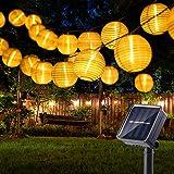 Catena Luminosa Lanterne Esterno, BrizLabs 6m 30 LED Lanterne Solari Giardino Luci Esterno Impermeabile 8 Modalità Decorative Stringa di Luci per Natale Terrazza Balconi Patio Festa, Bianco Caldo