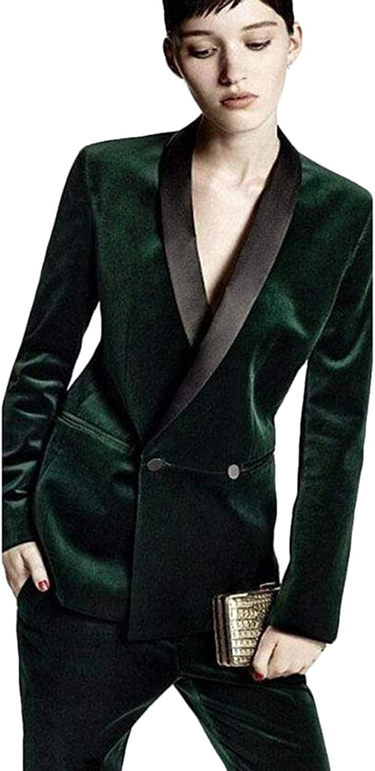 WZW Dark Green Ladies Winter Formal Suits Womens Business Suits Evening Trouser