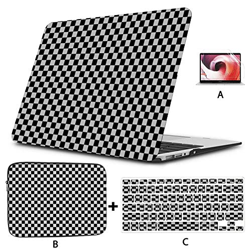New Macbook Air Case Black White Checkered Black White Macbook Air Laptop Cover Hard Shell Mac Air 11'/13' Pro 13'/15'/16' With Notebook Sleeve Bag For Macbook 2008-2020 Version