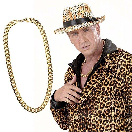 Massive Halskette gold Goldene Hals Kette Rapper Goldkette Hip Hop Pimp Halsschmuck Zuhälter Proll Goldschmuck Prolet Schlager Party Fasching Bad Taste Mottoparty Accessoire Karneval Kostüm Zubehör