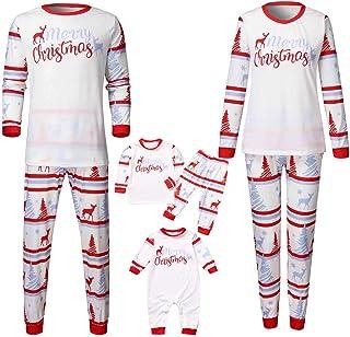 K-Youth Ropa para Padres e Hijos Pijamas de Navidad Familiar Conjuntos Bebe Niño Navidad Ropa Mujer Hombre Invierno Mameluco Bebé Niña Mono Ropa de Dormir Familiares Navideño