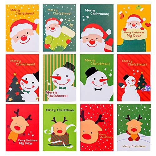 30 Stücke Mini Weihnachten Notizblöcke Kinder Tragbare Tasche Notebooks Weihnachtsmann, Schneemann, Rentier Muster Notizbuch Große Strumpf Party Beutetasche Füllstoffe für Mädchen Jungen, 12 Stil
