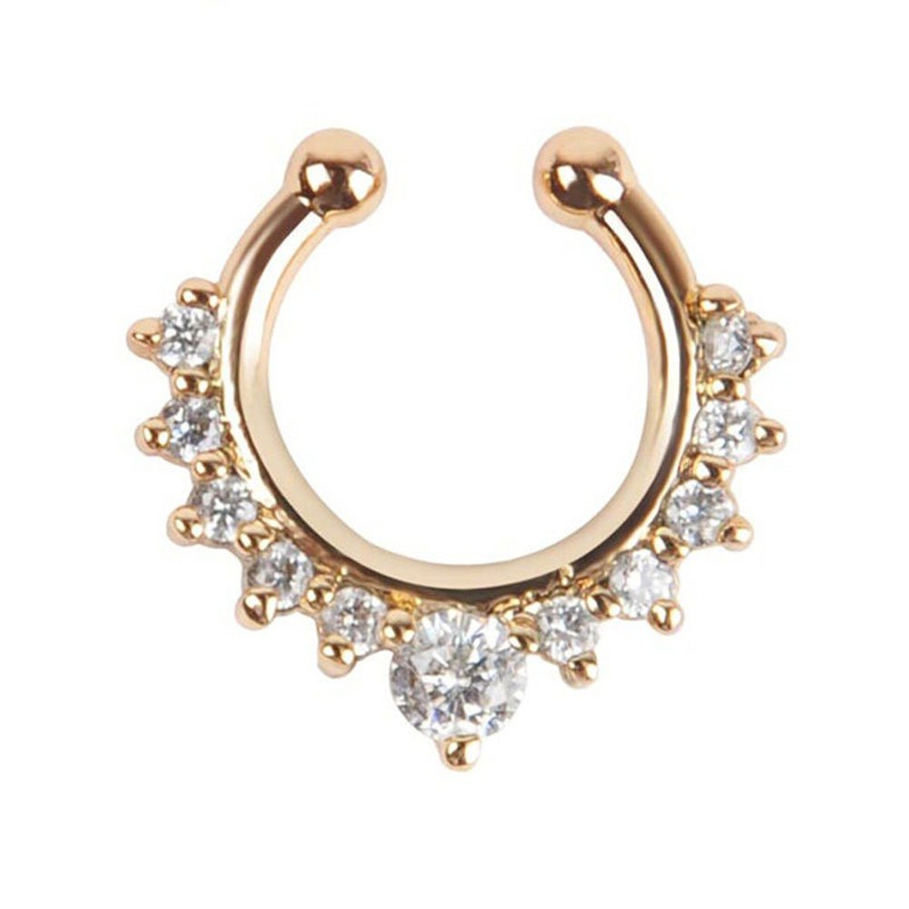 Oasis Plus New color White Max 62% OFF Crystal Gold Clip Fake Ring Hoop on Nose Septum