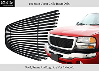 APS Compatible with 2003-2006 GMC Sierra 1500 2500 HD 3500 & 07 Classic Model Main Upper Stainless Steel Black 8x6 Horizontal Billet Grille Insert G85371J