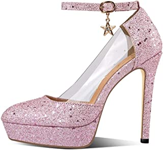 Sequins Pointed Platform High Heels For Banquet Wedding Dress Daily (Color : Pink, Size : 43)