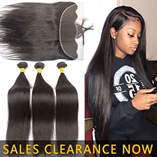 Best Human Straight Hair Weft 3 Bundles 9A Peruvian Virgin Hair Weave With 13x4 Frontal Closure Pre Plucked With Baby Hair Cheap Brazilian Indian 4x13 Ear to Ear Swiss Lace Frontals 20 22 24 And 18