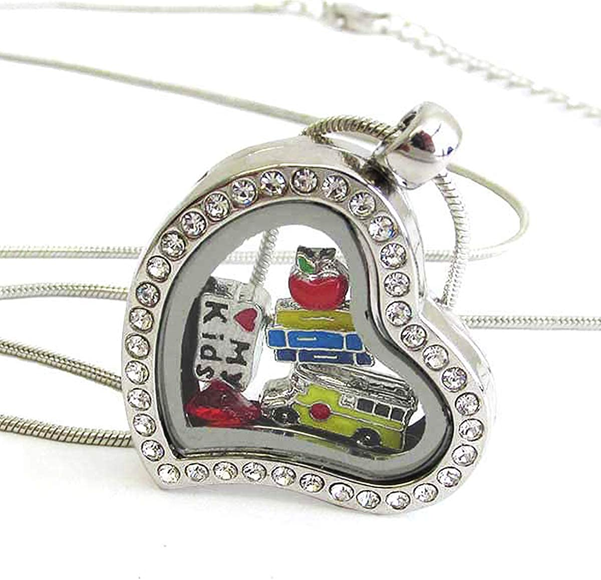 Lola Bella Gifts Crystal School Teacher Theme Origami Necklace w Gift Box
