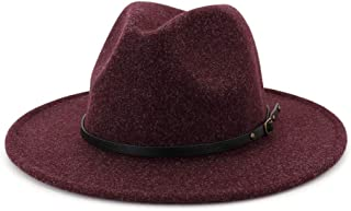 Lisianthus Womens Classic Wool Fedora with Belt Buckle Wide Brim Panama Hat